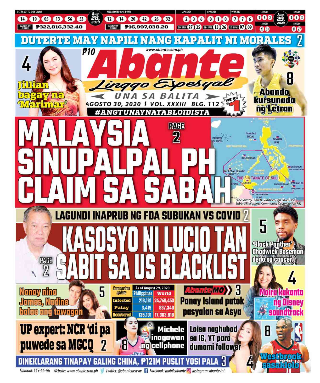 Abante Front Page   Balita ngayong August 30, 2020