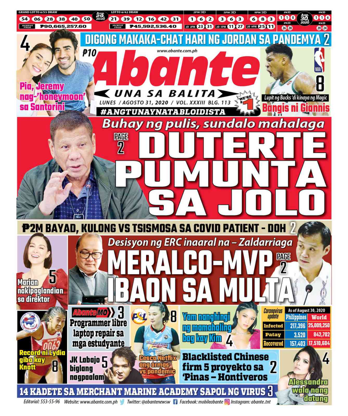 Abante Front Page | Balita ngayong August 31, 2020