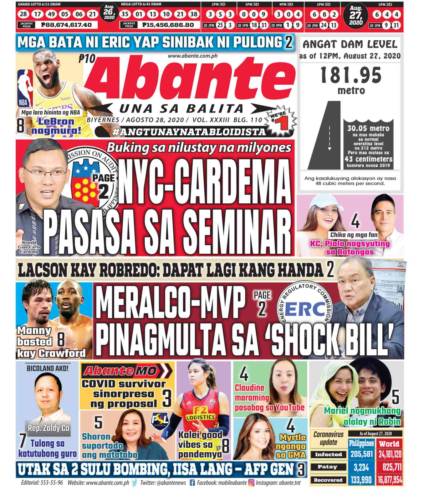 Abante Front Page | Balita ngayong August 28, 2020