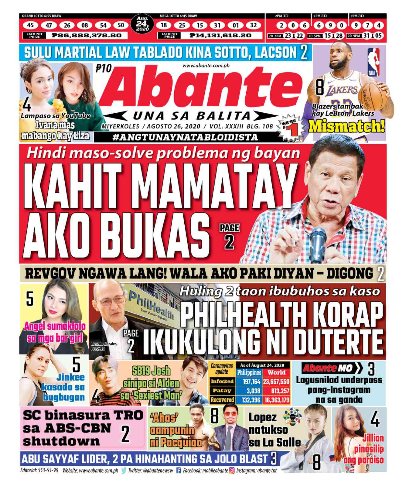 Abante Front Page   Balita ngayong August 26, 2020