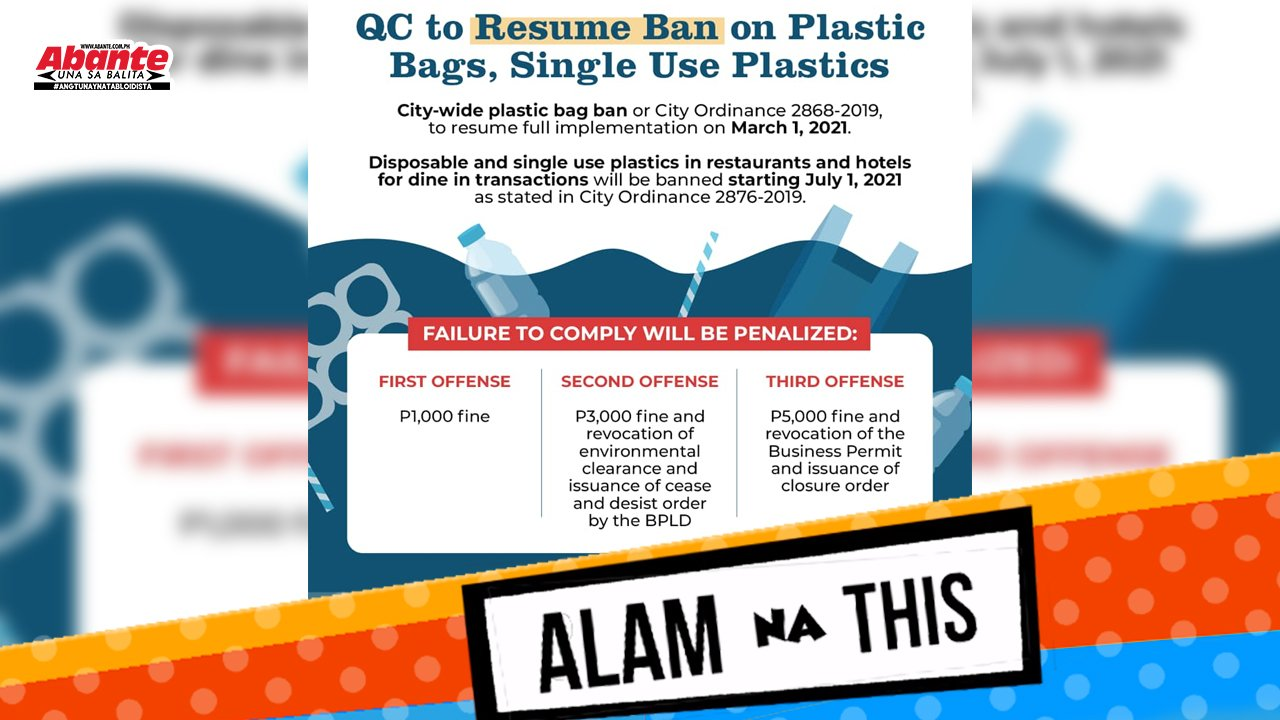QC plastic ban balik simula March 1 | Alam na this