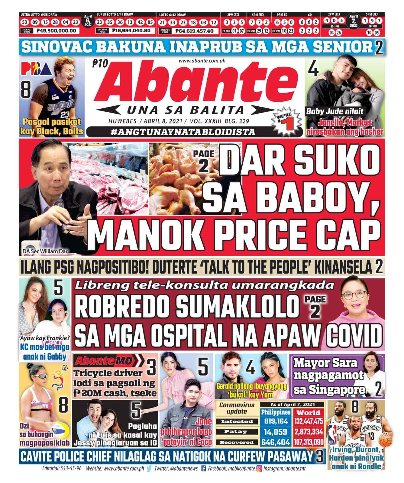 Abante Front Page